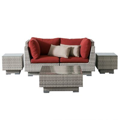 Khloe Sunbrella 5 Piece Glass Top Wicker Patio Sectional Set Cushion Color: Red, Accent Pillow Fabric: Beige