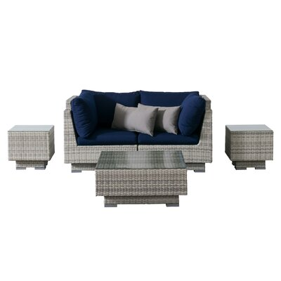 Khloe Sunbrella 5 Piece Glass Top Wicker Patio Sectional Set Cushion Color: Navy, Accent Pillow Fabric: Gray