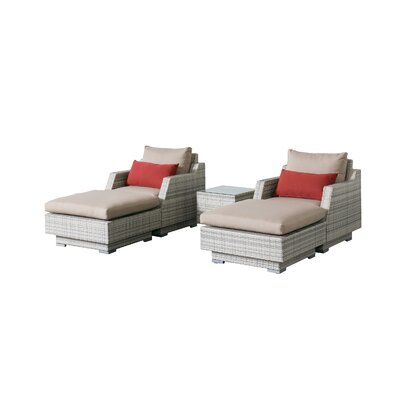 Khloe Sunbrella 5 Piece Wicker Patio Sectional Set Cushion Color: Beige, Accent Pillow Fabric: Red