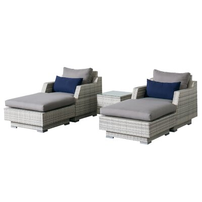 Khloe Sunbrella 5 Piece Wicker Patio Sectional Set Cushion Color: Gray, Accent Pillow Fabric: Navy