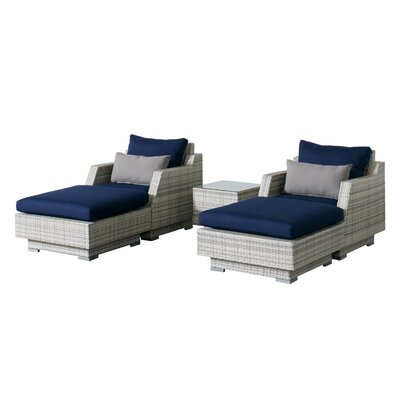 Khloe Sunbrella 5 Piece Wicker Patio Sectional Set Cushion Color: Navy, Accent Pillow Fabric: Gray