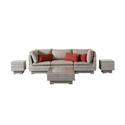 Khloe Sunbrella 6 Piece Wicker Patio Sectional Set Cushion Color: Beige, Accent Pillow Fabric: Red