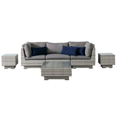Khloe Sunbrella 6 Piece Wicker Patio Sectional Set Cushion Color: Gray, Accent Pillow Fabric: Navy