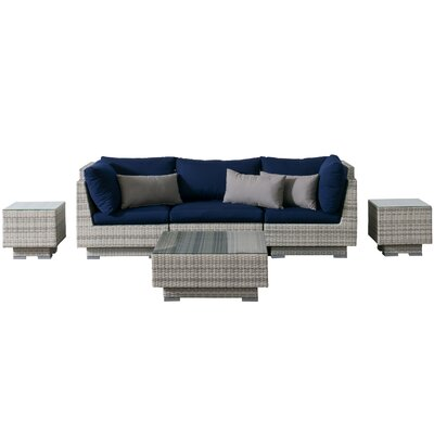 Khloe Sunbrella 6 Piece Wicker Patio Sectional Set Cushion Color: Navy, Accent Pillow Fabric: Gray