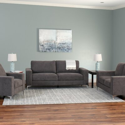 Hermia 3 Piece Contemporary Chenille Living Room Set Upholstery: Gray