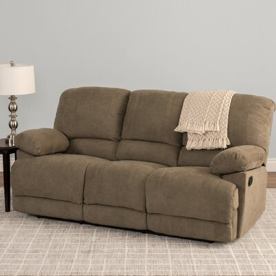 Condron Chenille Reclining Sofa Upholstery: Brown