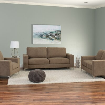 Hermia 3 Piece Contemporary Chenille Living Room Set Upholstery: Brown