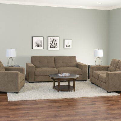 Kaye 3 Piece Living Room Set Upholstery: Brown