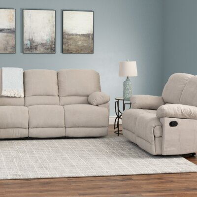 Condron 2 Piece Chenille Reclining Sofa and Loveseat Set Upholstery: Beige