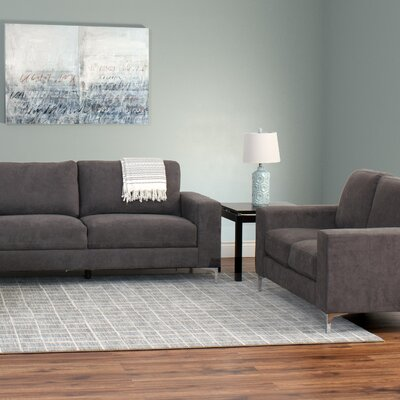 Hermia 2 Piece Contemporary Chenille Sofa and Loveseat Set Upholstery: Gray