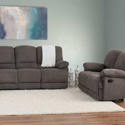 Condron 2 Piece Chenille Reclining Sofa and Loveseat Set Upholstery: Gray