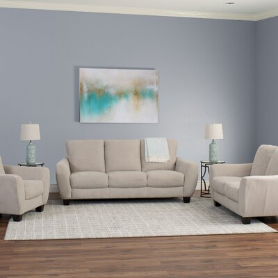 Lacy 3 Piece Living Room Set Upholstery: Beige