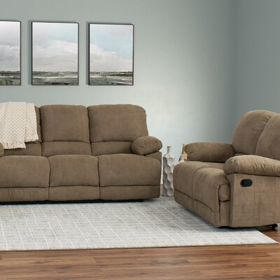 Condron 2 Piece Chenille Reclining Sofa and Loveseat Set Upholstery: Brown