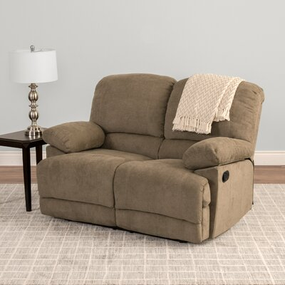 Condron Chenille Reclining Loveseat Upholstery: Brown