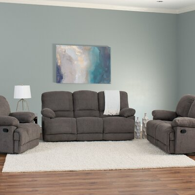 Condron 3 Piece Chenille Reclining Living Room Set Upholstery: Gray