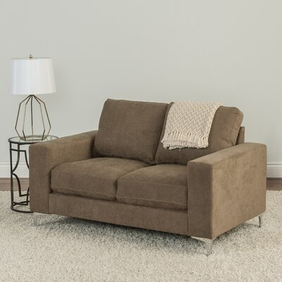 Hermia Chenille Loveseat Upholstery: Brown