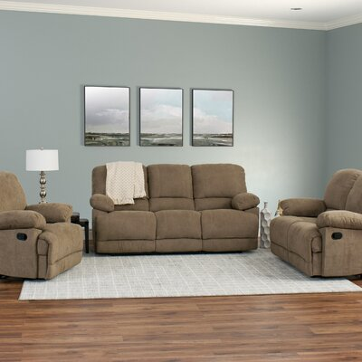 Condron 3 Piece Chenille Reclining Living Room Set Upholstery: Brown