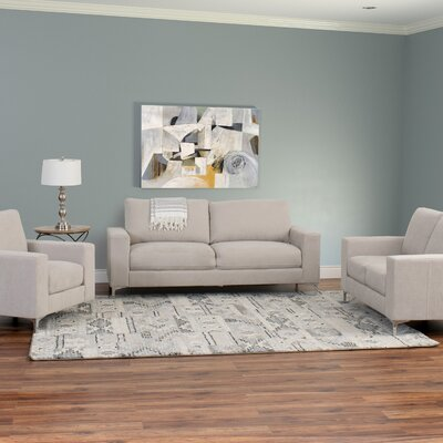 Hermia 3 Piece Contemporary Chenille Living Room Set Upholstery: Beige