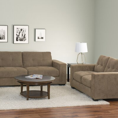 Kaye 2 Piece Tufted Chenille Sofa and Loveseat Set Upholstery: Brown