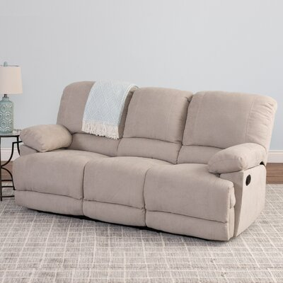 Condron Chenille Reclining Sofa Upholstery: Beige