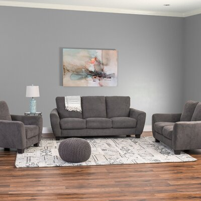 Lacy 3 Piece Living Room Set Upholstery: Gray