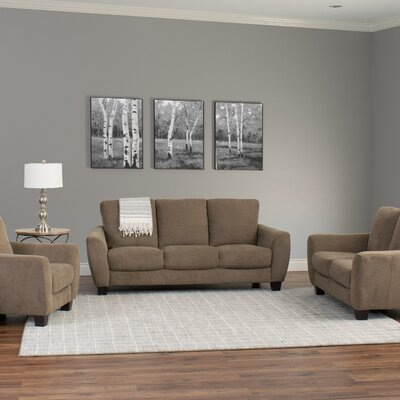 Lacy 3 Piece Living Room Set Upholstery: Brown