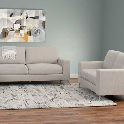 Hermia 2 Piece Contemporary Chenille Sofa and Loveseat Set Upholstery: Beige