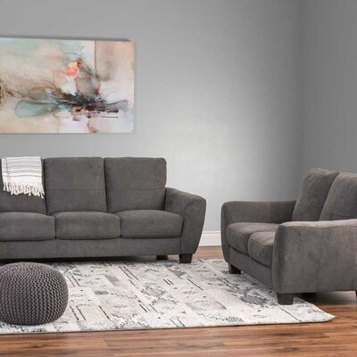 Lacy 2 Piece Chenille Sofa and Loveseat Set Upholstery: Gray