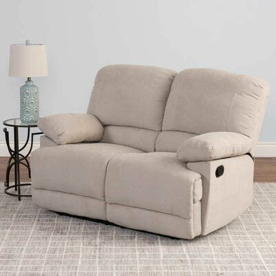 Condron Chenille Reclining Loveseat Upholstery: Beige