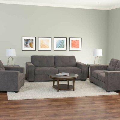 Kaye 3 Piece Tufted Chenille Living Room Set Upholstery: Gray