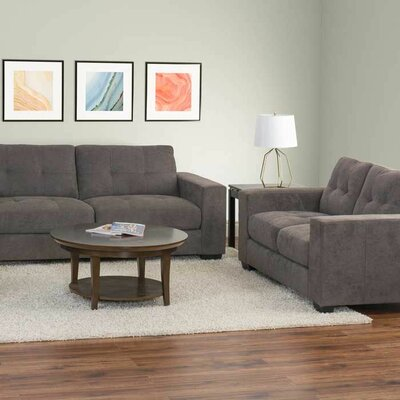 Kaye 2 Piece Tufted Chenille Sofa and Loveseat Set Upholstery: Gray