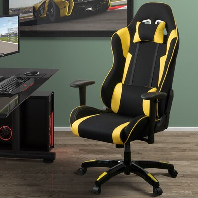 High Back Ergonomic Gaming Chair Color: Black/Yellow