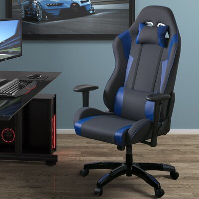 High Back Ergonomic Gaming Chair Color: Gray/Blue