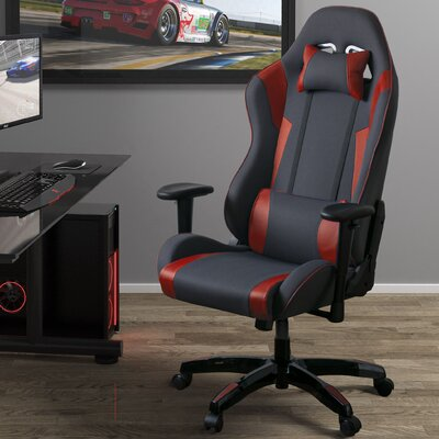 High Back Ergonomic Gaming Chair Color: Gray/Red