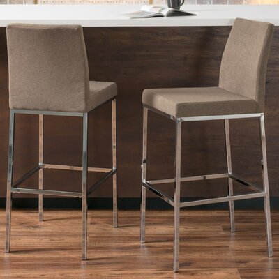 Onya Fabric Bar Stool Upholstery: Brown