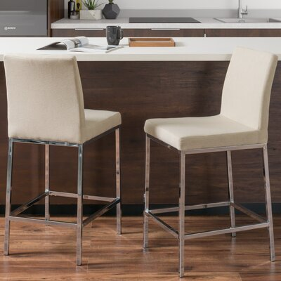 Onya Fabric Bar Stool Upholstery: Beige