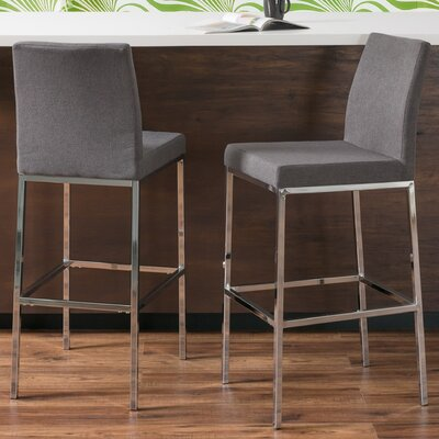 Onya Fabric Bar Stool Upholstery: Gray