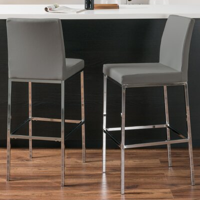 Onya Contemporary Bar Stool Upholstery: Gray