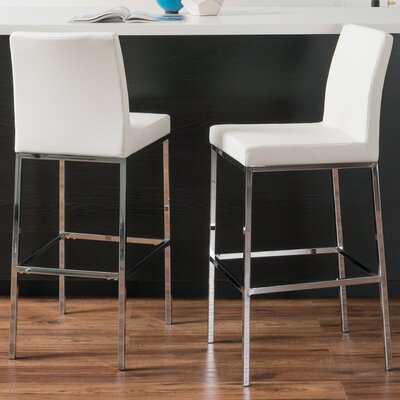 Onya Contemporary Bar Stool Upholstery: White