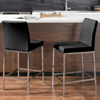 Onya Leatherette Bar Stool Upholstery: Black
