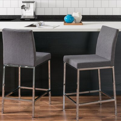 Onya Leatherette Bar Stool Upholstery: Gray