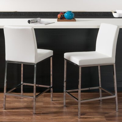 Onya Leatherette Bar Stool Upholstery: White