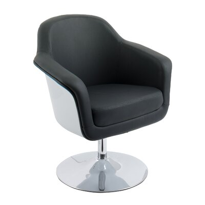 Mod Modern Bonded Leather Swivel Armchair Upholstery: Black