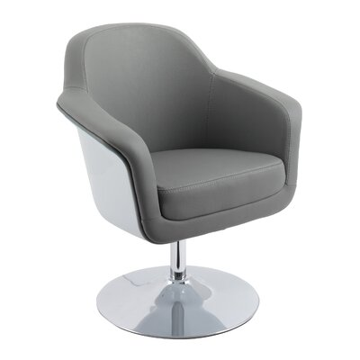 Mod Modern Bonded Leather Swivel Armchair Upholstery: Gray
