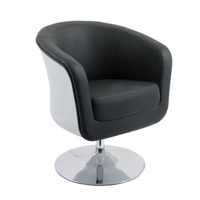 Mod Modern Bonded Leather Tub Swivel Armchair Upholstery: Black