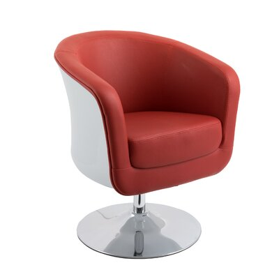Mod Modern Bonded Leather Tub Swivel Armchair Upholstery: Red