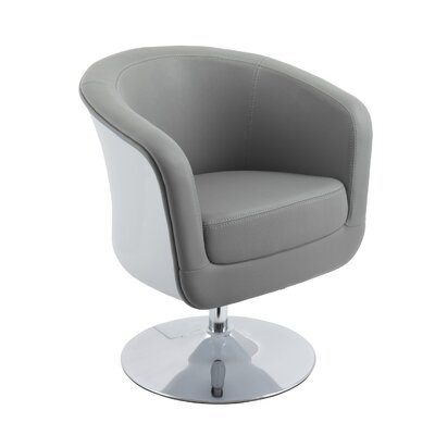 Mod Modern Bonded Leather Tub Swivel Armchair Upholstery: Gray