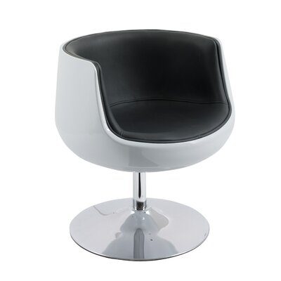 Mod Modern Bonded Leather Swivel Barrel Chair Upholstery: Black