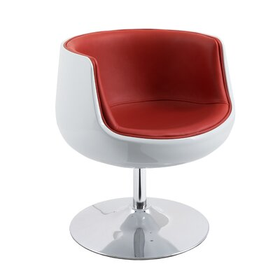 Mod Swivel Barrel Chair Upholstery: Red