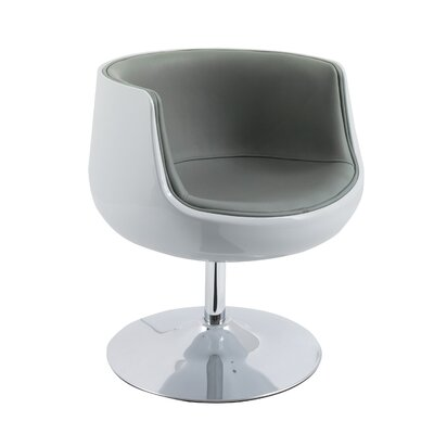 Mod Modern Bonded Leather Swivel Barrel Chair Upholstery: Gray